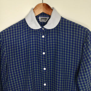 Vintage navy and green plaid blouse with white Peter Pan collar