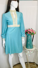 Load image into Gallery viewer, 1960s Turquoise Dress with Lace Trim