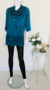 Vintage embroidered ethnic turquoise tunic