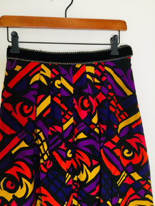 Vintage multicoloured skirt with velvet waistband
