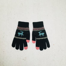 Load image into Gallery viewer, Retro style black gloves with reindeer