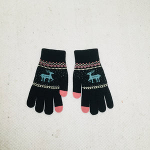 Retro style black gloves with reindeer