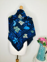 Load image into Gallery viewer, Vintage navy leaf print large square scarf