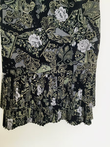 90s Vintage Betty Barclay Rose and Paisley Print Skirt
