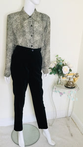 Vintage Black Velvet High Waisted Trousers