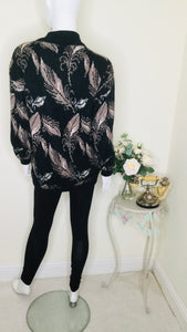 80s feather print oversized jumper