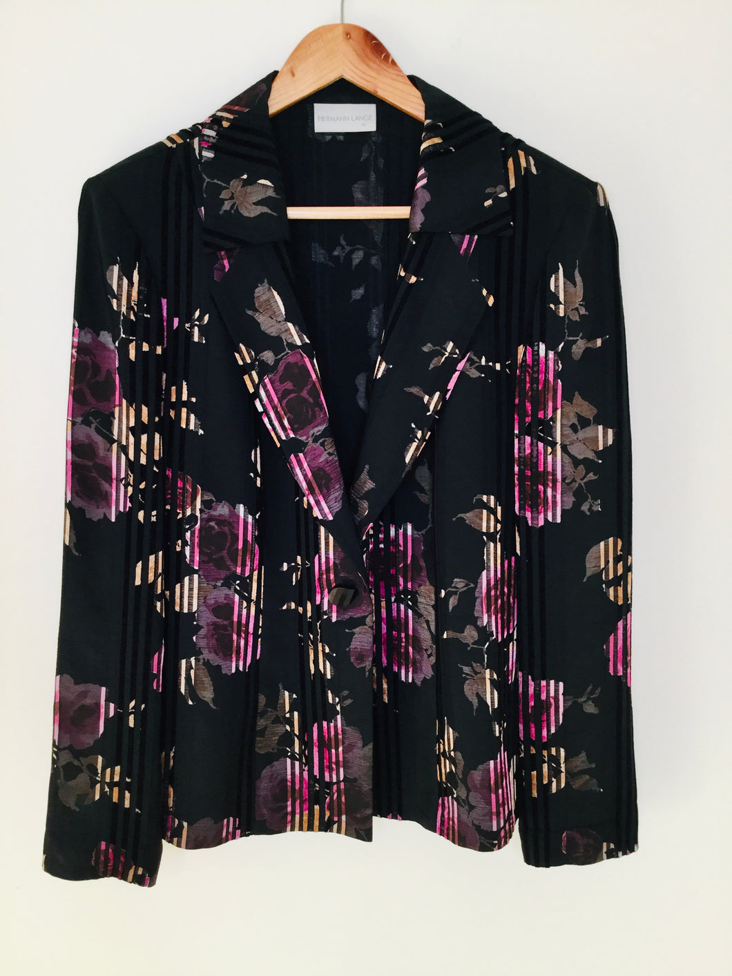 Black blazer with pink floral print