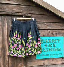 Load image into Gallery viewer, Vintage Silk Skirt with Wild Flower and Dragonfly Print