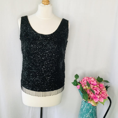 60s Black Wool Hand Beaded Shell Top