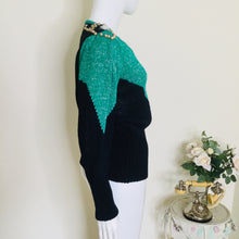 Load image into Gallery viewer, 80s Navy and Green Embellished Sweater