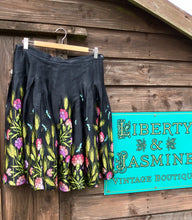 Load image into Gallery viewer, Black skirt with colourful wildflower and dragonfly print skirt