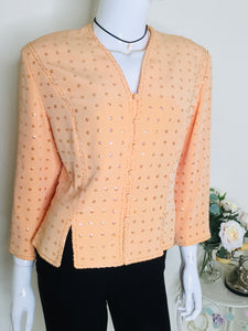 Tom Bowker for Coterie peach sequin and beaded jacket