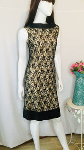 60s Black and Nude Lace Dress
