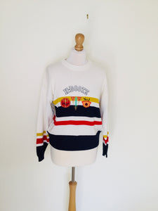 Sporty vintage striped sweater