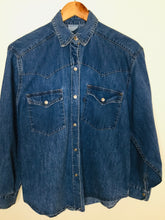 Load image into Gallery viewer, Vintage western style blue denim shirt