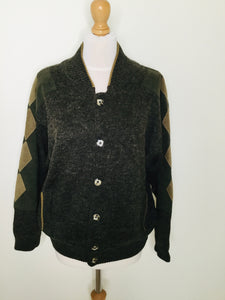 Vintage college style green cardigan bomber jacket