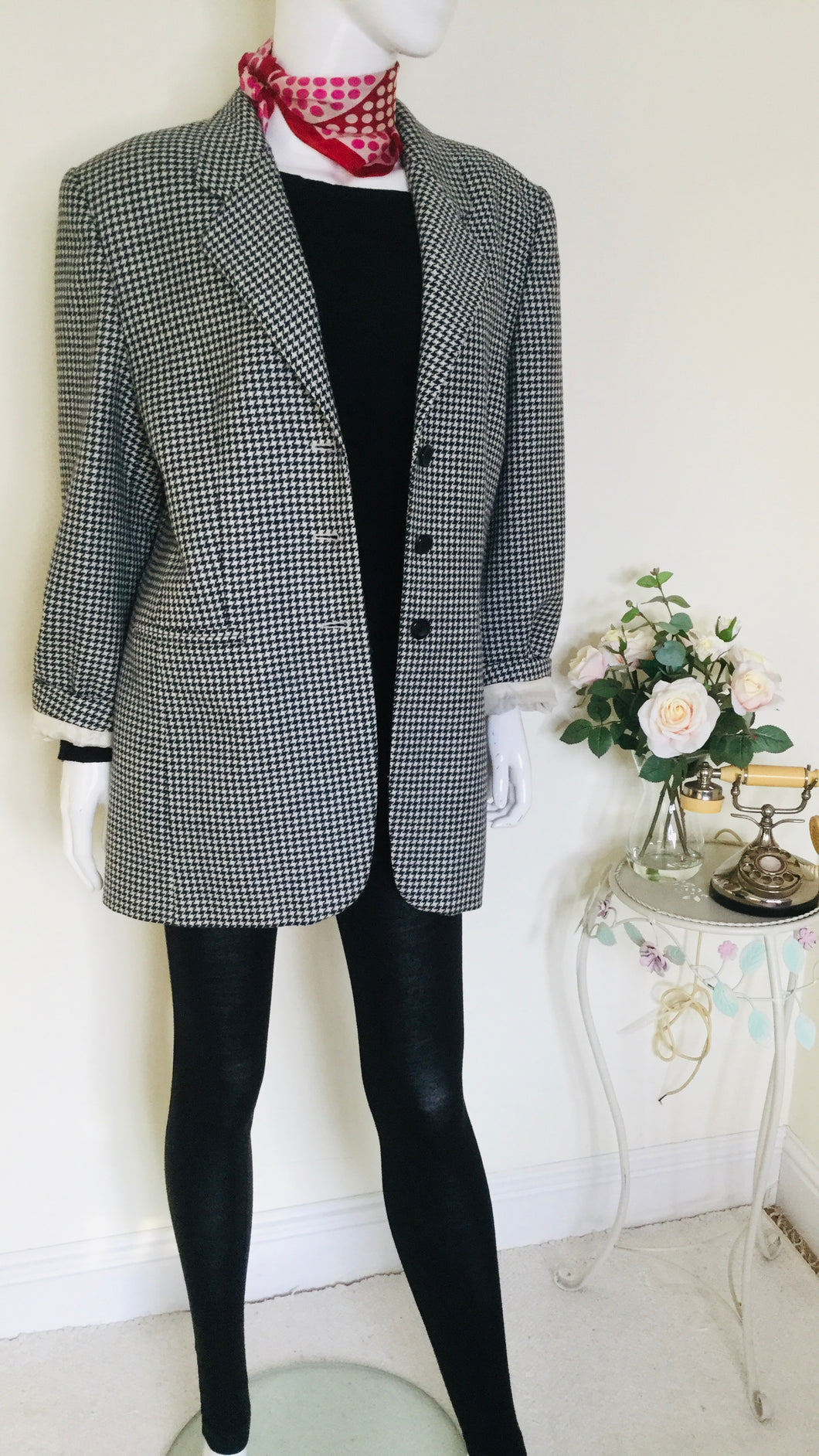 Vintage houndstooth wool jacket