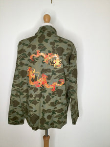 Camouflage jacket with large embroidered dragons back patch