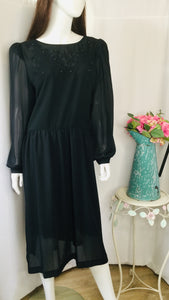 70s Black Sheer Dress