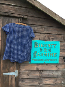 Vintage Navy Polka Dot Silk Blouse