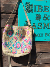 Load image into Gallery viewer, Boho style straw bag with floral embroidery