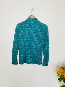 Vintage Jaeger teal blouse with feather print