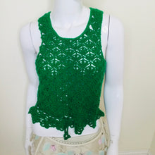 Load image into Gallery viewer, Emerald green vintage crocheted sweater vest