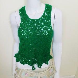 Emerald green vintage crocheted sweater vest