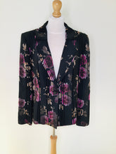 Load image into Gallery viewer, Black vintage blazer with pink floral print