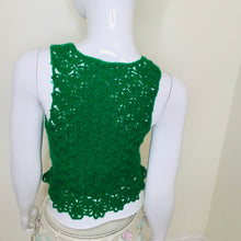 Load image into Gallery viewer, Vintage Crochet Green Sweater Vest