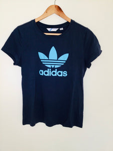 Retro navy sports t shirt with logo by Adidas