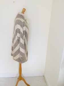 Vintage Chevron Striped Wool Cardigan Jacket