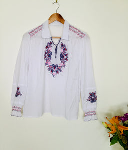Vintage boho style embroidered top