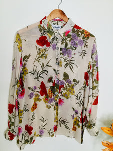 Vintage cream floral semi sheer blouse