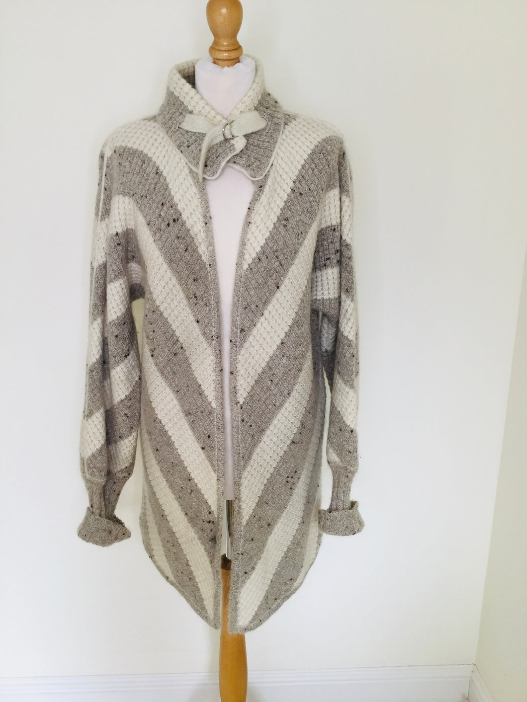 Grey and cream chevron striped cardigan jacket
