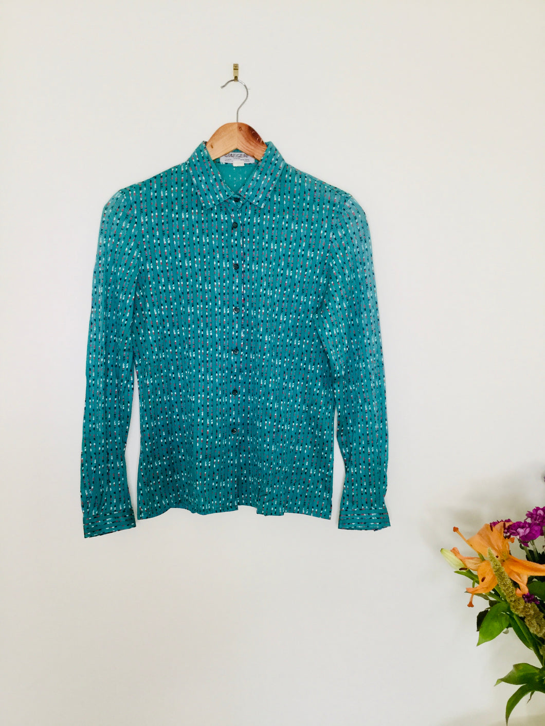 Vintage teal blouse by Jaeger