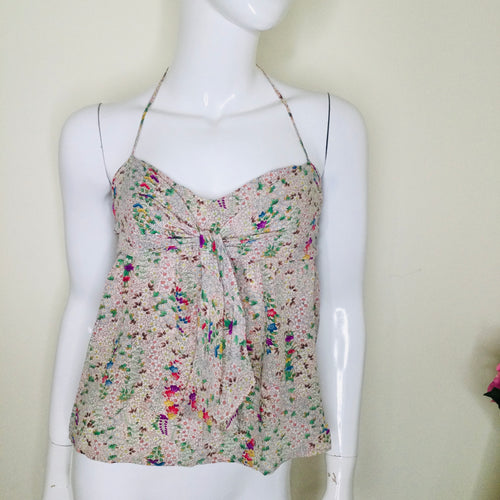 Delicate silk floral halter neck top