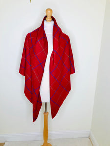 Vintage Burgundy Plaid Shawl