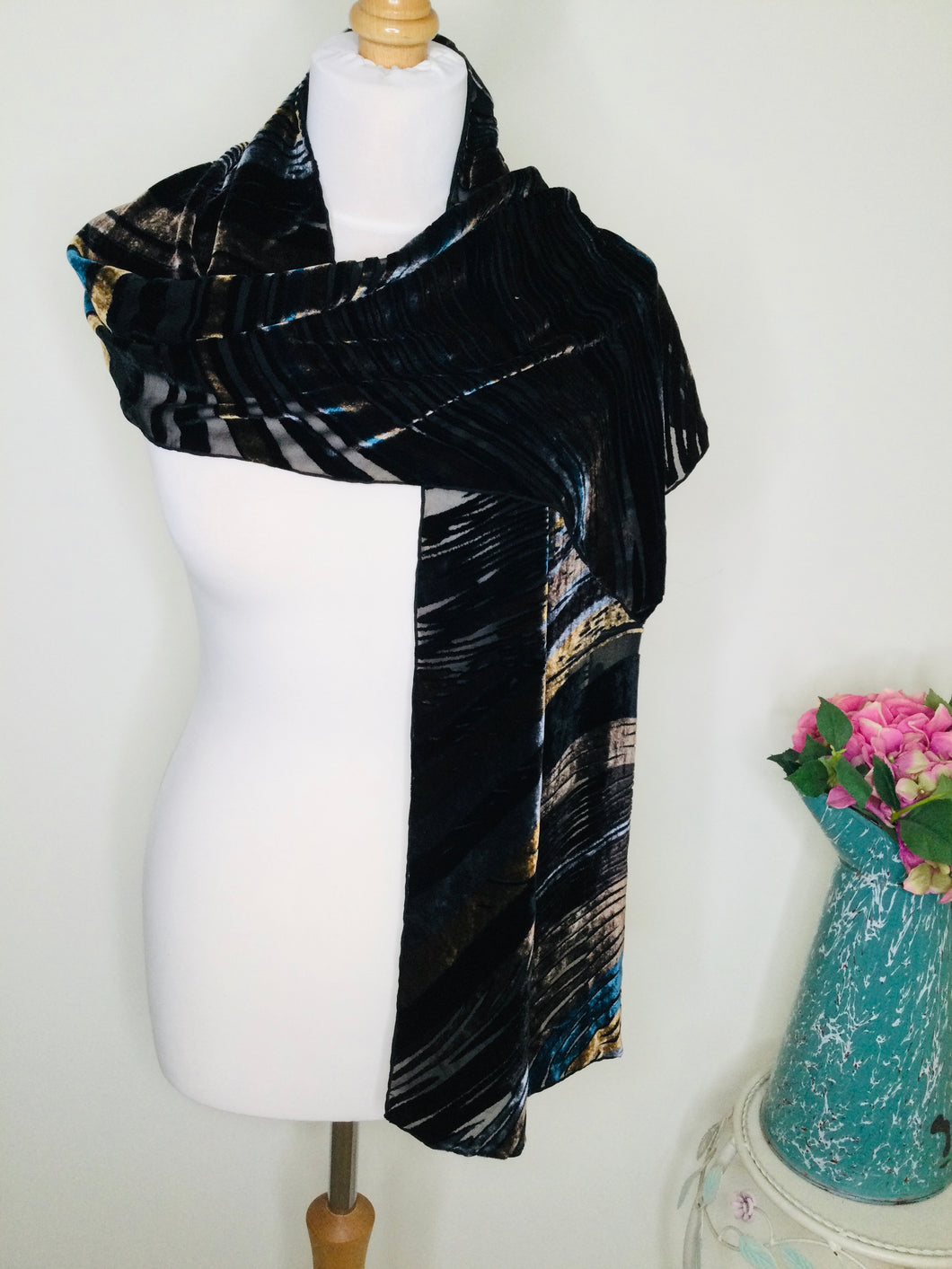 Vintage devoré velvet striped scarf