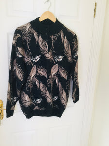 80s feather print sweater