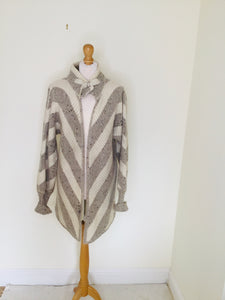 Vintage cardigan with grey and cream chevron stripes