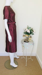 1950s Mulberry Boat Neck Silk Dress