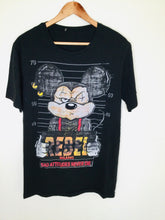Load image into Gallery viewer, Black t shirt featuring a mug shot of a criminal Mickey Mouse