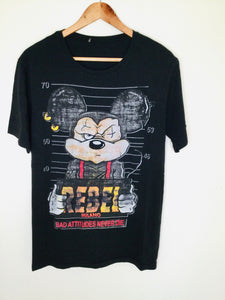 Black t shirt featuring a mug shot of a criminal Mickey Mouse