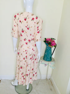 Vintage Peach Floral Button Front Dress