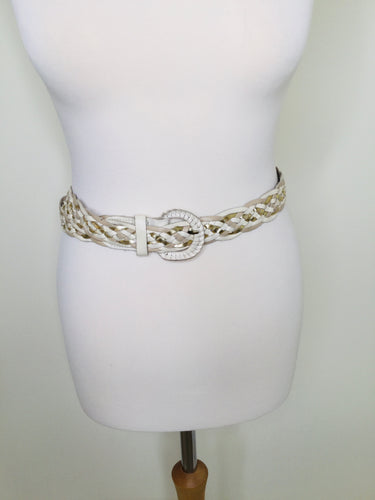 Vintage white mix woven leather belt