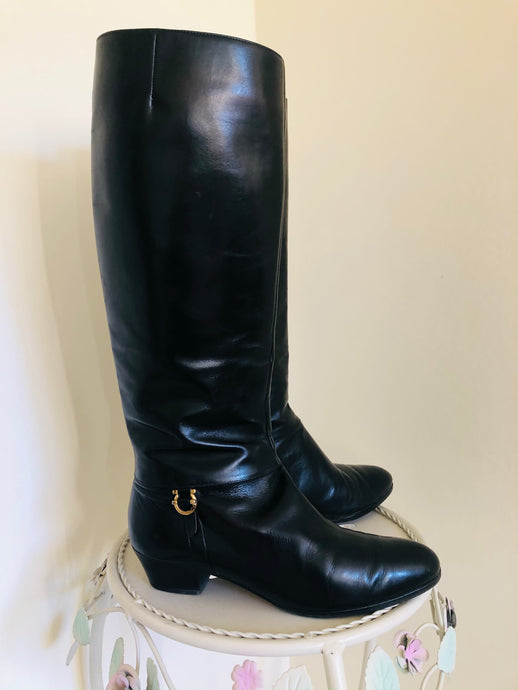 Vintage black leather tall riding style boots