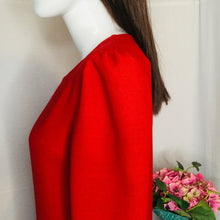 Load image into Gallery viewer, 80s Red Drop Waist Dress