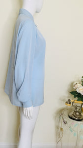 90s Vintage Powder Blue Silky Blouse