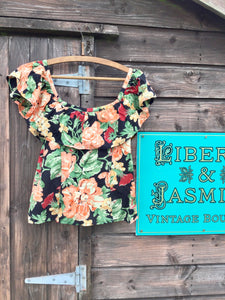 Vintage Floral Top with Frill Detail